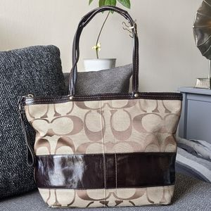 Coach Small Canvas Tote Leather Trim
